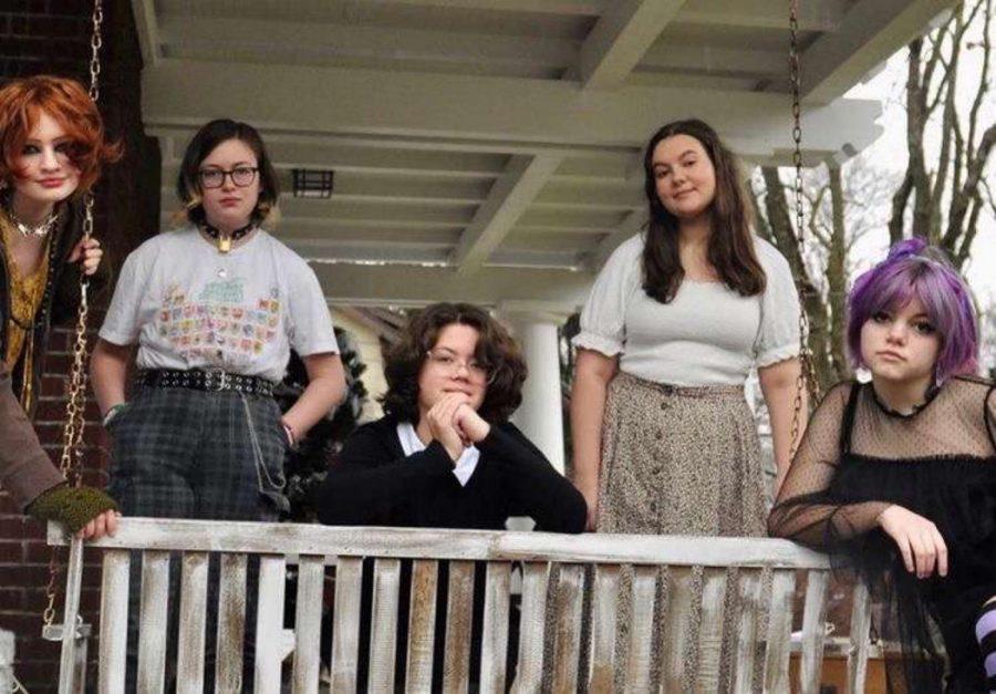 Sucker Punch Band members (left to right: Moira Hogan, Eden Boeshart, Milla Wright, Elise Sellebaag, Parker Burghy).