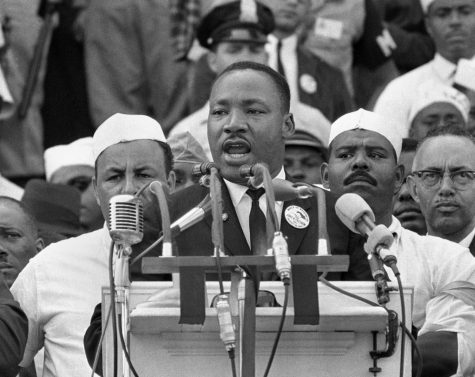 "Martin Luther King Jr. giving his infamous ""I have a dream speech"" at the Lincoln memorial."