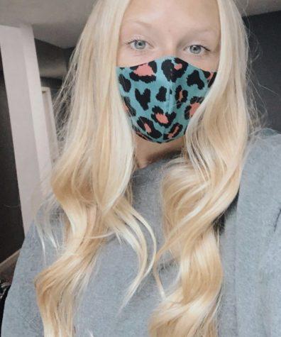 Elle Rollyson modeling a homemade mask