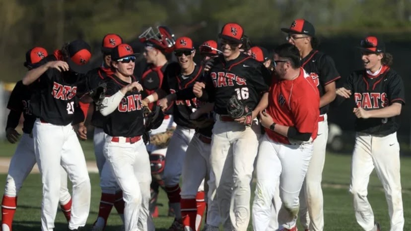 photo found on ThisWeek Community News. The Westerville South baseball team after beating Westerville North 18-0, Friday, April 23.