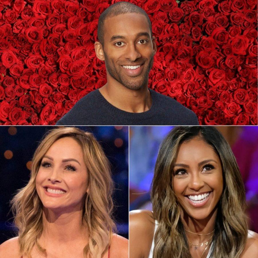 Top: Matt James, Bachelor season 25  Bottom: Clare Crawley and Tayshia Adams, the Bachelorette