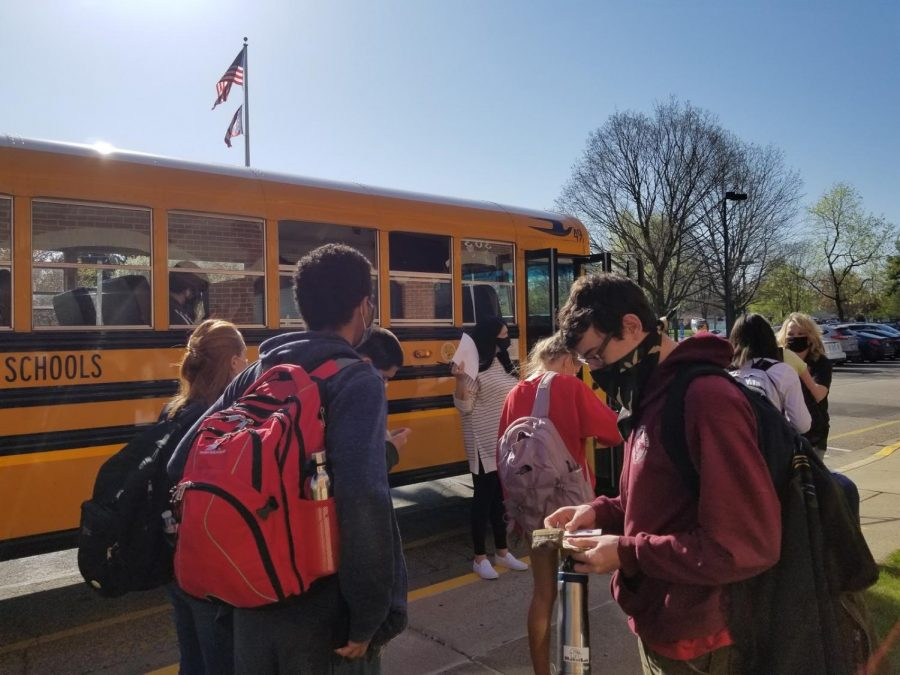 Students board the bus to Westerville central to receive their first dose of the COVID-19 vaccine.