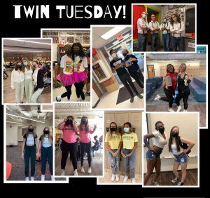 Students and teachers at Westerville South show off their best Twin Tuesday outfits. Senior, Sania Jackson (pictured in the pink tutu on the left) explains that she choose to dress up because it is her senior year and would like to make as many memories as possible. Plus, maturing is realizing spirit week is actually fun and I just really like spirit week.