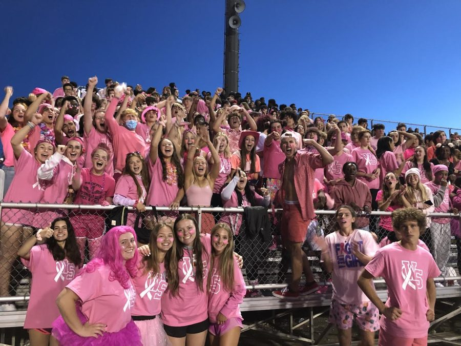 The Westerville South Student Section supports Breast Cancer Awareness Month going all out in pink at last Fridays game. South faced Delaware Hayes also sporting pink gear, representing the Wildcat Nation. The Wildcats came out on top once again leading by 42 points for the second game in a row with a final score of 49-7.